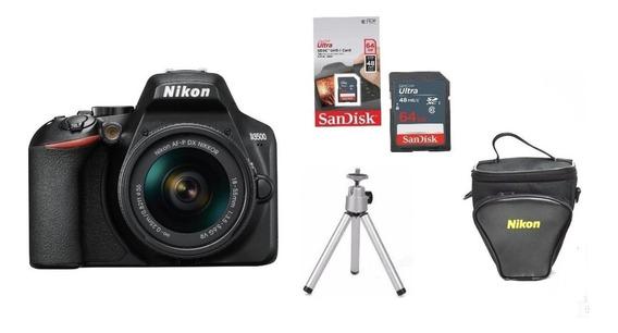Câmera Nikon D3500 C/ 18-55mm + Bolsa + 64gb + Tripé
