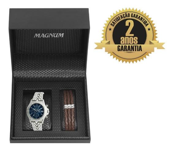 Relógio Masculino Magnum Analógico Ms30116o Cronógrafo + Pulseira Preço Imbatível