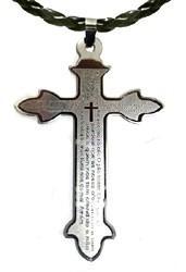 Pingente Crucifixo Oração Pai Nosso/ Inox Correntinha Grátis