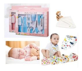 Kit Higiene E Cuidados P/bebe 10pcs + 10 Babadores + Naninha