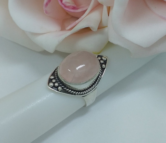 Jóia Anel Prata 925 C Pedra Natural Quartzo Rosa Cód Anp 49