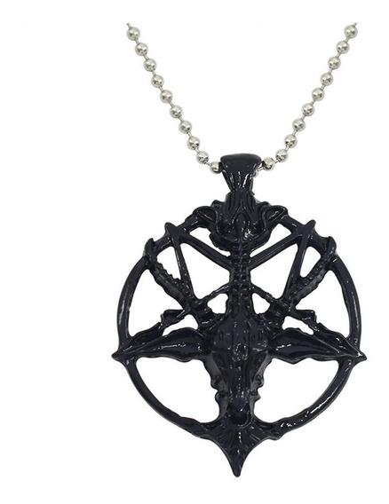 Colar Baphomet Pentagrama Invertido Bode Goat Satanismo Trad
