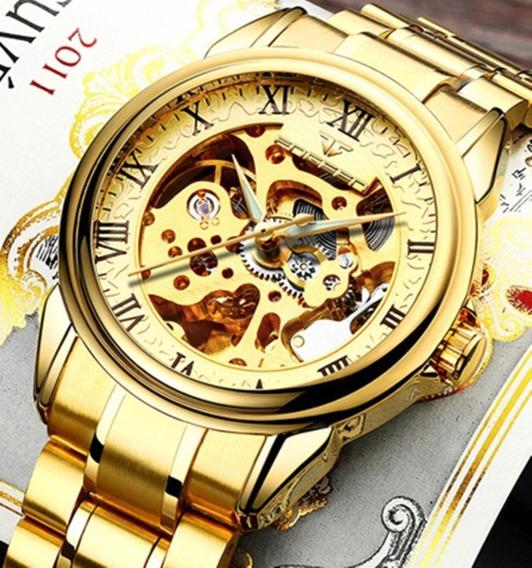 Relógio Masculino Automático Fngeen Aço Inox Dourado