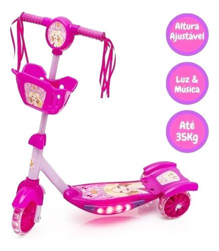 Patinete Infantil Ajustável Meninas 3 Rodas Musical Belinda