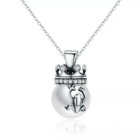 Cordão Prata 925 Coroa Rainha Com Sapo Pérola Estilo Pandora