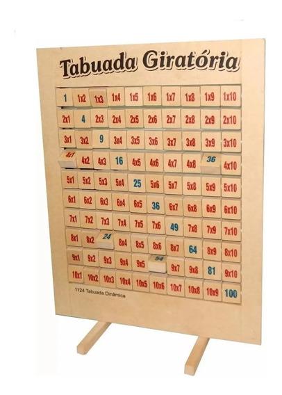 Jogo Pedagógico Tabuada Dinâmica Giratória Quadro Em Madeira