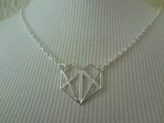 Colar Folheado A Prata Formato De Diamante Cf 46