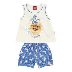 Conjunto Infantil Shorts E Blusa Com Estampa Cachorro