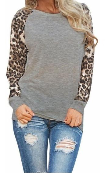 Moda Feminina Casual Primavera Outono Leopardo Onca Cro