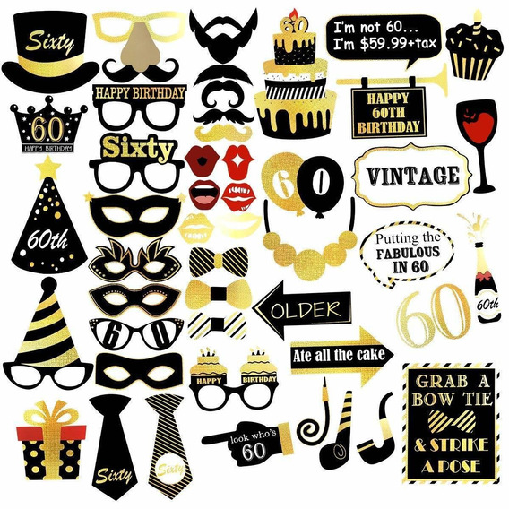 Unomor 60th Birthday Photo Booth Props For Gold And Black Bi