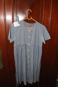 = Roupa Lote 595 Mulher Bata Vestido Azul Listrado Algodáo B