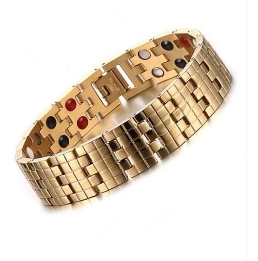 Pulseira Magnética Banhado A Ouro + Ajustador De Brinde