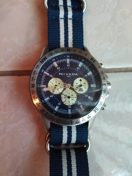 Reloj Nivada Azul Correa Nylon Modelo Sky Master
