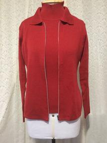 Conjunto Cardigã Com Blusa De Lã Vermelho Importado !!!