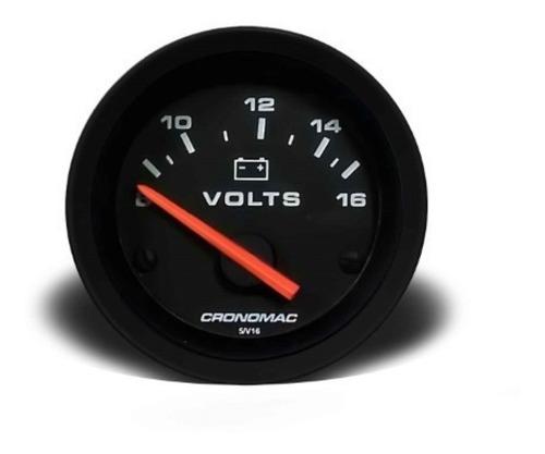 Imagem 1 de 3 de Voltimetro Veicular Cronomac 60mm 12v - Street Preto