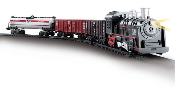 Ferrorama Trem Locomotiva + 3 Vagões Maria Fumaça Luz E Som