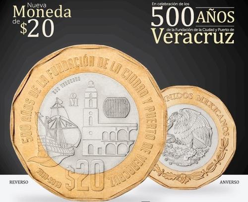 Imagen 1 de 6 de Moneda De $20 Conmemorativa 500 Años Fundación De Veracruz