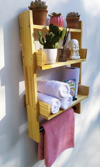 Prateleira Escada Flutuante - Cor:verniz Natural - Lavabo