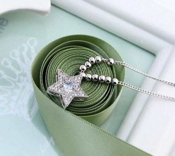 Collar Dije Estrella Plata Ley 925 Y Zirconias