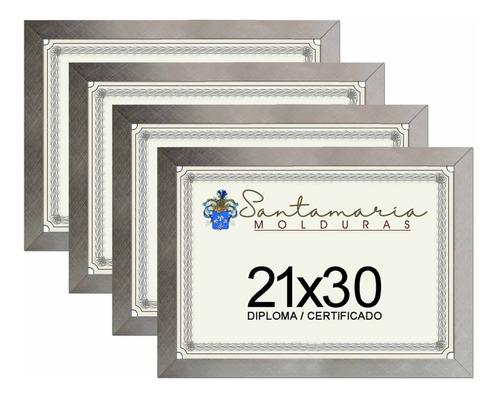 Imagem 1 de 3 de Kit 4 Molduras Porta Diploma Certificado A4 21x30 Prateado