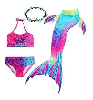 Vestido Traje Baño 3 Piezas Cola De Sirena Para Niña U S A