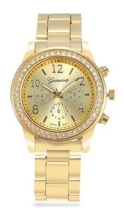 Relógio Geneva Feminino Dourado Com Strass