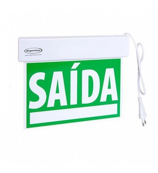 Placa Sinalização Saída Emergência Led Verde Acrílica Sf