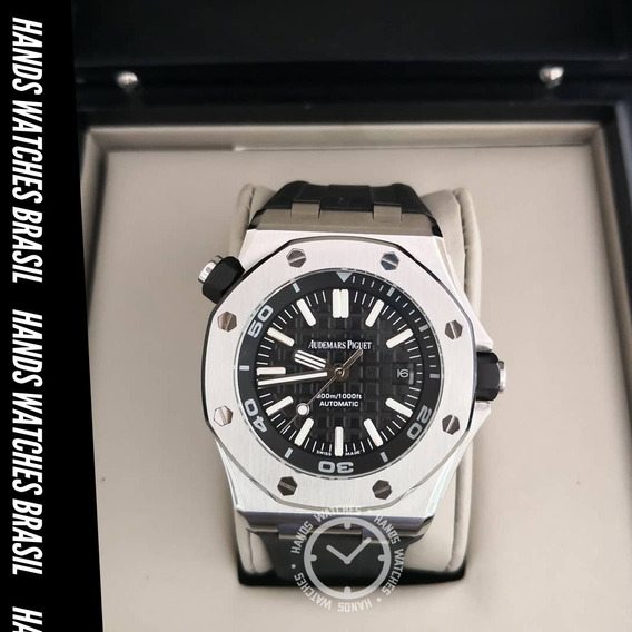 Relógio De Luxo Silver Black Dial