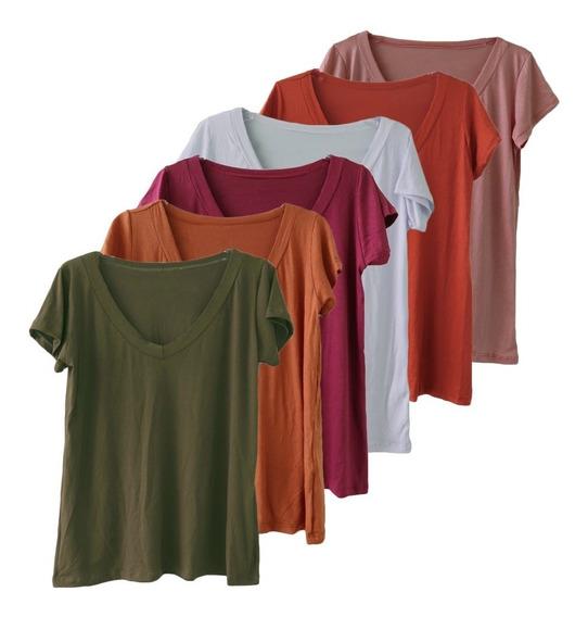 Kit 5 Blusa T Shirt Camiseta Decotada Feminina Podrinha