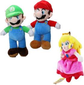 Kit 3- Pelúcias Mario Luigi Princesa Peach Bros 25 Cm