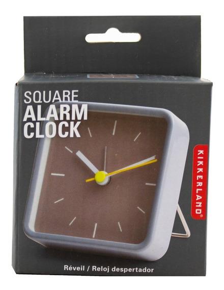 Reloj Analógico Alarma Gris Kikkerland Despertador Cuadrado Clock