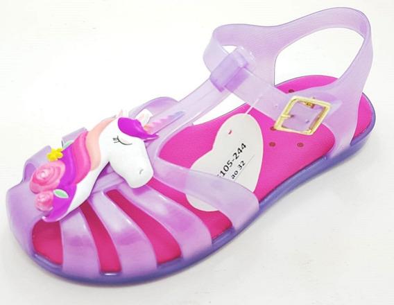 Kit 12 Pares Sandalia Plastico Infantil Unicornio Menina
