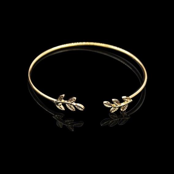 Linda Pulseira Bracelete Dourada Com Folhas Fashion