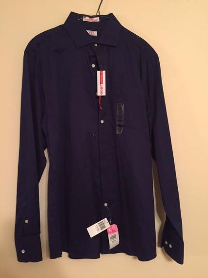 Camisa Izod Cuello Italiano Corte Slim Fit Azul Marino