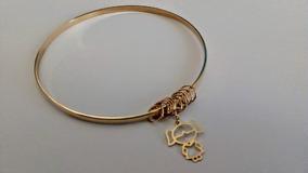 Bracelete Ouro 10k Pingente Menina + 10 Argolinhas Diam 7 Cm
