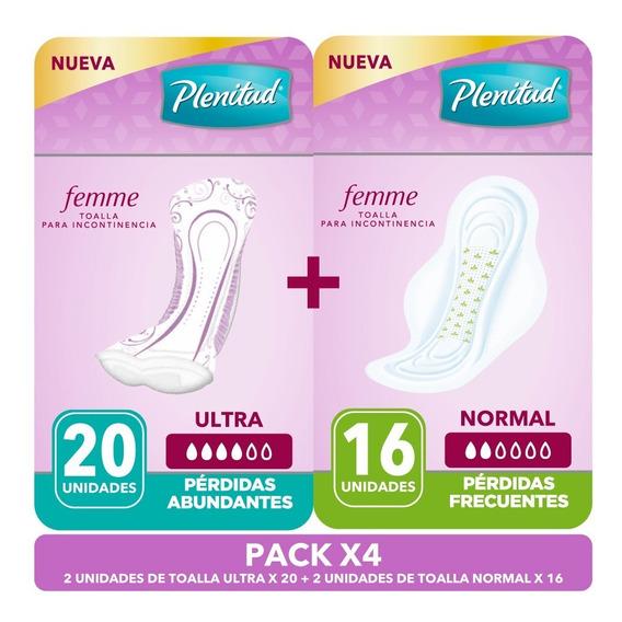 Toallas Incontinencia Plenitud Femme 2 Normal + 2 Ultra