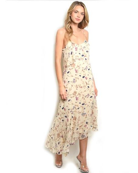 Vestido Casual Largo Floral Beige, Tirantes, Fresco.