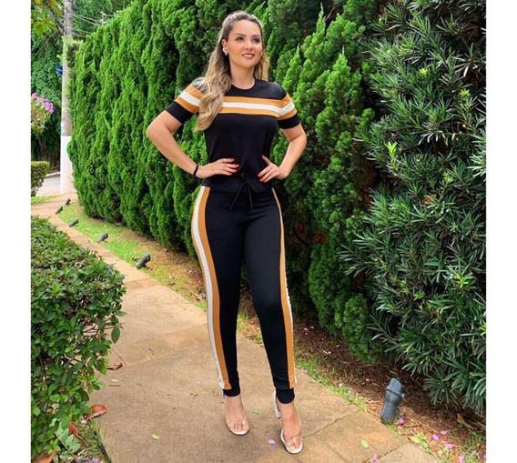 Conjunto Crepe Plus Size Calça Blusa Roupa Feminina P A Exg