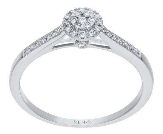 Anillo De Oro Blanco 14k Con 16pts De Diamante-r25045