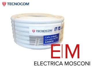 Caño Corrugado Blanco 1 Liviano X Rollo 25mts Tecnocom