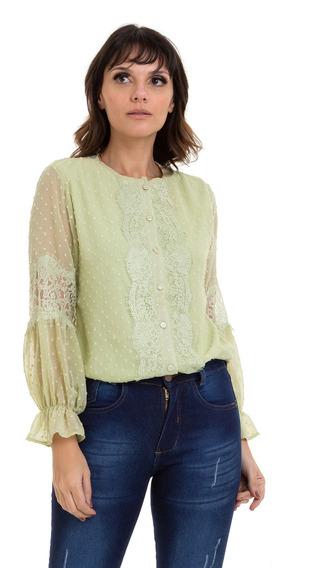 Camisa Kinara Chiffon Detalhes Em Renda Verde