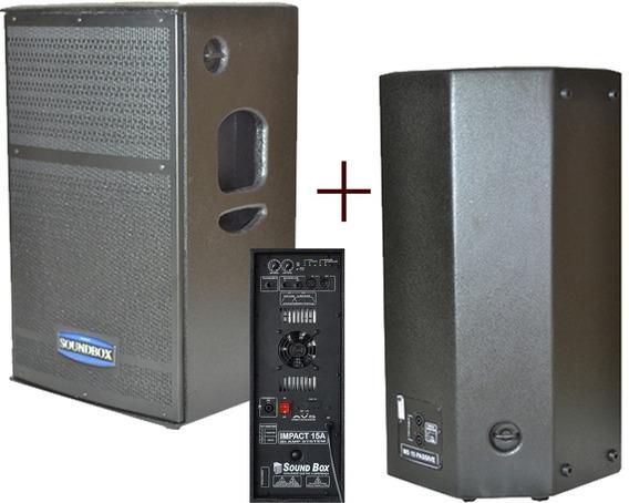Soundbox Impact15 Biamplificada 700 W Kit Ativa E Passiva