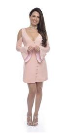 Vestido Curto Pérolas Mangas Bufantes Priscila - Rosa