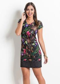 Vestido Com Decote V E Frente Estampada Floral