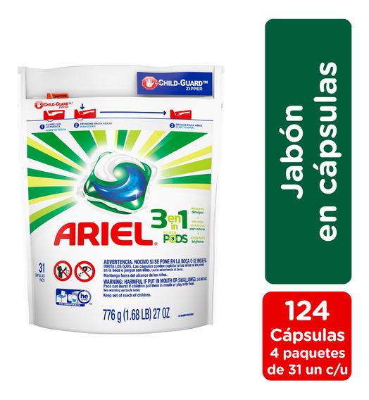 Jabón En Cápsulas Ariel Pods 31 Unidades - Pack X 4
