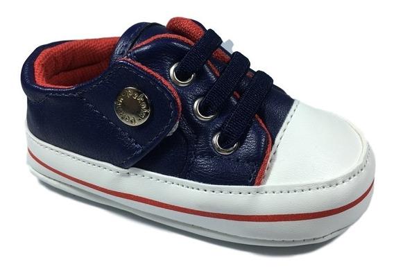 Tênis Infantil Baby Primeiros Passo Azul Com Vermelho Peknin
