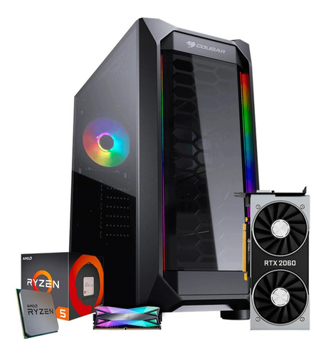 Pc Gamer Ryzen 5 3600 Asus B450m Rtx 2060, 16gb, Ssd 512gb