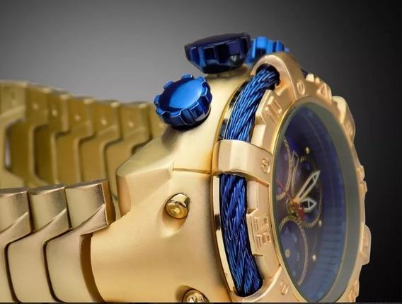 Relógio Dourado Grande Ostentação Aço Inox Fundo Azul
