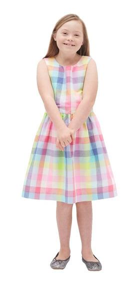 Vestido Casual Niña Sin Mangas Cuadros 442314 Azul Gap