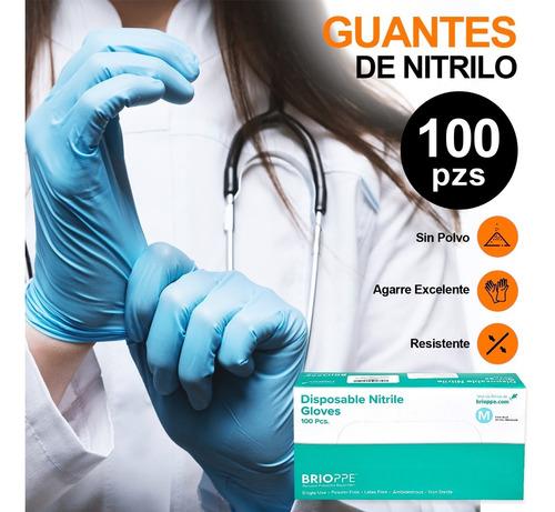 Imagen 1 de 7 de Guantes De Nitrilo Libre De Latex Sin Polvo Azul Negro 100pz